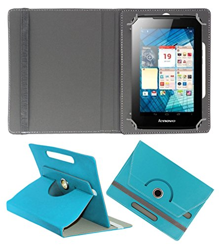 ACM ROTATING 360° LEATHER FLIP CASE FOR LENOVO A1000L TABLET STAND COVER HOLDER GREENISH BLUE  available at amazon for Rs.149