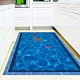 Abnehmbar Kunst AufkleberWand Dekoration Wandgemälde Wandaufkleber Abziehbild,Dreidimensionale 3D-Wandaufkleber-Animation Kreatives Schlafzimmer Wohnzimmer-Fußboden und Badezimmer verziert im Seewasser-Schwimmbäder, 89 * 56Cm imprägniern