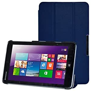 3-folding Custer Texture Voltage Flip Leather Case with Holder for Lenovo Miix 2-8(Dark Blue)