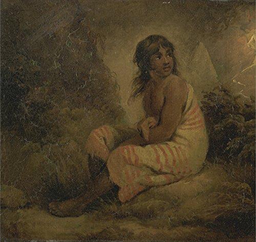 Spiffing Prints George Morland - Indian Girl - Extra Large - Matte - Black Frame Black Indian Girl