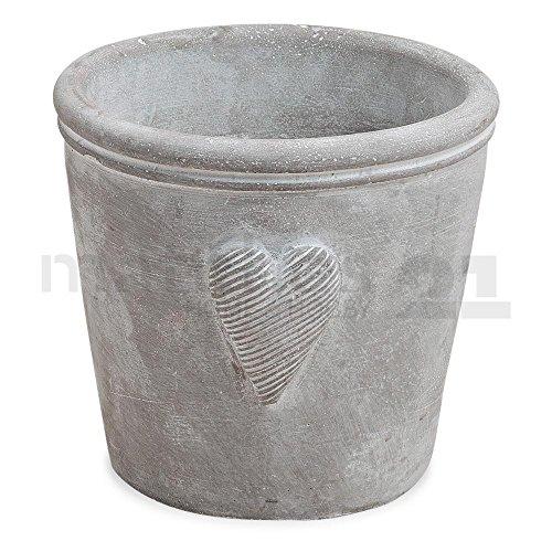 matches21 Dekorative Pflanzschale Übertopf aus Beton Herzdekor für Innen & Außen grau 12x13 cm Betonschale 1 Stk.