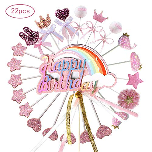 Happy Birthday Rosa Kuchen Decoration Cupcake Toppers für Geburtstag Party Deko ()