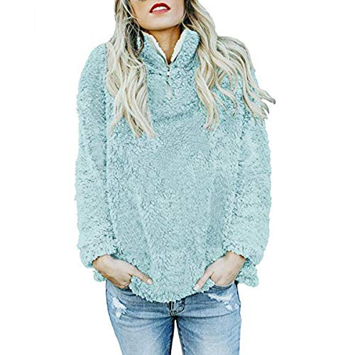 Bluelucon Damen Sweatshirts, Casual Winter Kapuzenpullover Teddy-Fleece Langarm -