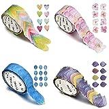 Healifty Ruban de masquage Washi autocollants pétales sans couture bricolage pour artisanat Scrapbooking emballage cadeau 4 petit