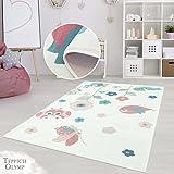 Teppich Kinderzimmer Mädchen Jungen | Fröhliche Schmetterling Blumen Sterne Motive für das Jugendzimmer | Öko Tex 100 Schadstoffgeprüft, allergikergeignet (Käferwiese - 160 x 230 cm)