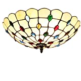 Tiffany-Lampen/Schöne Deckenleuchte im Tiffany Stil Deckenlampe Jugendstil/Farbe Glas Lampenschirm E27*3 inklusive LED Leuchtmittel, Ø60cm