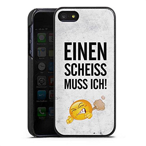 Apple iPhone 5s Lederhülle Leder Case Leder Handyhülle Lustig Sprüche Statement Leder Case schwarz