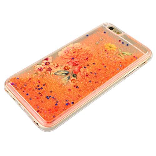 Handyhülle iPhone 6S Treibsand Schale 4.7 Zoll, iPhone 6 Flüssig Hülle, Moon mood® iPhone 6S 6 Durchsichtige Handyhülle 3D Creative Case Mode Bunten Transparente Kristallklaren Sparkly Silikon TPU Wei Stil 14