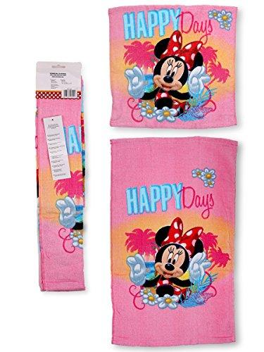 Minnie Mouse Set Doppio Asciugamano Bambini 100% Cotone Casa,Scuola, Asilo Nido 30x50cm + 30x30cm