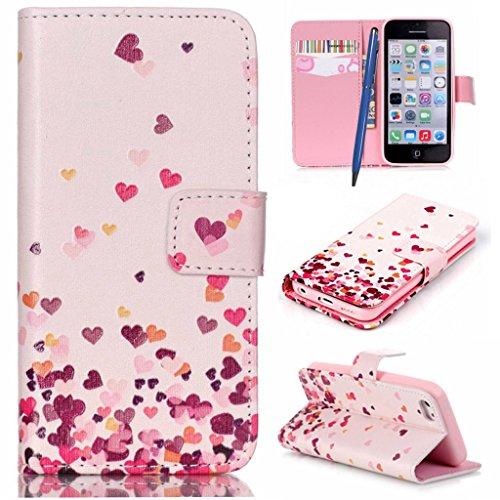 CareyNoce Custodia in Pelle Per iPhone 5C,Dente di leone,Farfalla,Amore,Portafoglio Flip PU Cuoio Caso Per iPhone 5C,Apple iPhone 5C (4.0 pollice) Protettiva Cover -- Amore Cuore #2