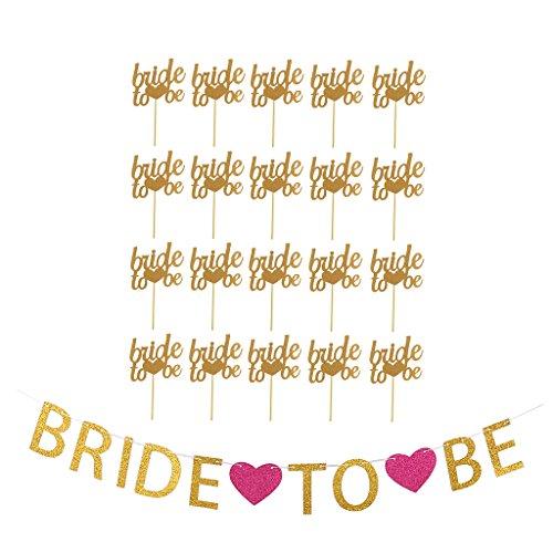 Blesiya 20 Stücke Bride To Be Kuchen Topper Banner Hochzeit Bridal Shower Hen Night Party