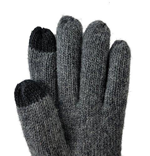 Bruceriver Femmes Gants tricotés laine pure avec doublure Thinsulate et design diamant Gris Touchscreen