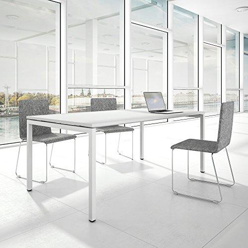 PROFI Besprechungstisch 200x100cm NOVA U 4-8 Pers. Konferenztisch Meetingtisch , Gestellfarbe:Weiß