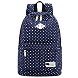 "Lightweight Casual Daypack Canvas Polka Dot Backpack 14""-15"" Laptop PC School Bag"