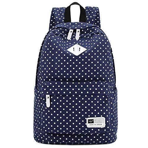 S-ZONE Zeitstil Damen Herren Mädchen Haltbare Segeltuch Schultasche 14-15 inch Laptoptasche Wanderrucksack für Schhule, Freizeit (Dunkel Blau)