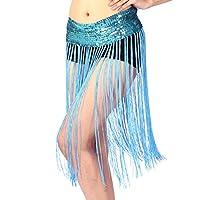Tinksky Danza del vientre tramo lentejuelas franja borla brillante cadera bufanda Clubwear falda gratis tamaño de la señora de la correa (azul) - regalo día de la madre o el regalo para las mujeres