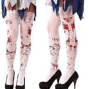 Himki Halloweenstrümpfe Kostüme Karneval Halloween Strümpfe Krankenschwester Kostüm (Weiße Blutige)