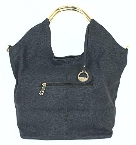 Limited Colors Handtasche Damen Shopper Schultertasche Henkel Lederlook Schwarz