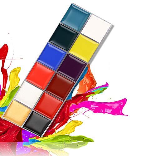 knowing Schminkpalette,12 Farbe Palette Make Up Schminke Palette,Für Face Painting Oil Multi-Farben-Verfassungs-Halloween-Kostüm-Kinderfasching - Clown Make-up-palette