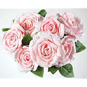 Bogas Cosmetics Ramo de Rosas Artificiales Premium para decoración de hogar, Bodas, restaurantes, hoteles y Eventos Diversos. Máxima Calidad. (Rosa)