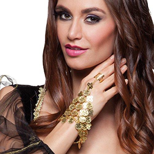 tte mit Ring Bauchtänzerin Handschmuck gold 1001 Nacht Schmuck Armreif Orient Armband Haremsdame (Antike Kostüm Schmuck)