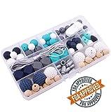 Mamimami Home Geometrisch Silikon-Zahnen Halskette Set Silikon Holzperlen Krankenpflege Halskette Hexagon Silikon Perlen Wegbrechen Schließe Holz Teether