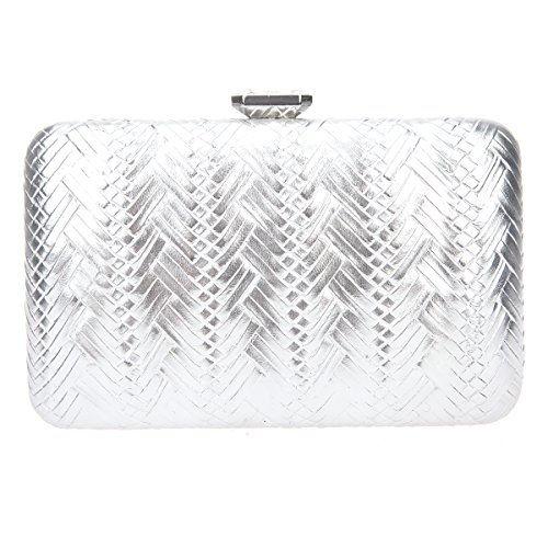 Bonjanvye Big Man Made Diamond PU Leather Weave Evening Bags And Clutches For Women Gold silver