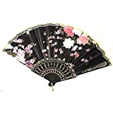 AUM- Lace Trim Colorful, Flower Floral Pattern, Hand Held Folding Bamboo Japanese Silk Hand Fan (Black-L).100% Hand Crafted, Gift Fan For Girls, Women, Wedding Party. Buy 100% Original Imported Hand Fan From Aum Impex Only