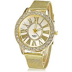 Lightinthebox® Luxury Women's Girl's Watch Fashion Crystal Diamante Gold Color Golden Band, Quartz Wrist Watch