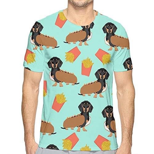 Wiener Dog T-shirt (Dackel Hot Dog und Pommes Essen Funny Dog Kostüm Cute Dog Wiener Dog_63 Mode Herren Rundhals Design Camouflage Kurzarm Slim Fit Casual T-Shirt L)