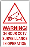 6 x Red on White-130mm-CAMERA IMAGE Warning 24 Hour CCTV Surveillance In Operation Stickers-Closed Circuit Television Security-Self Adhesive Vinyl Signs by Platinum Place