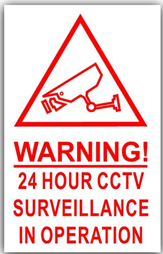 6 x Red on White-130mm-CAMERA IMAGE Warning 24 Hour CCTV Surveillance In Operation Stickers-Closed Circuit Television Security-Self Adhesive Vinyl Signs by Platinum Place Circuit Tv
