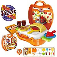 GN 22 Pcs Plastic Pretend Cooking Pizza Food Toys Home Living Learning Gift Role Play Sets Kids Suitcase