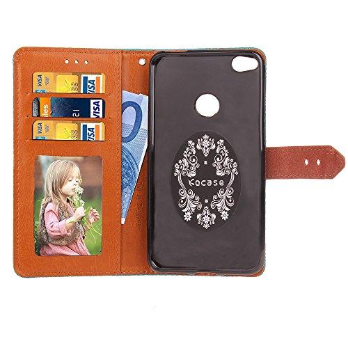 EKINHUI Case Cover European Mural Embossed Style Flip Stand Cover Geldbörse Tasche mit Nivellierleder Schnalle für Huawei P8 lite (2017) ( Color : Brown ) Rose