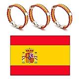 Feican World Cup Flag 2018 Spanien Nationalflagge 90x150 cm mit 3 Stück Alloy Lederarmbänder Fußball Fans Liefert Sets
