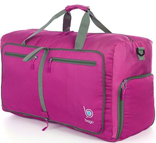 Bago Duffle Bag For Travel Luggage Gym Sport Camping - Lightweight Foldable Into Itself Duffel 22'' (Medium 22'', Pink)