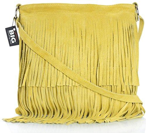 BHBS Femmes Sac à Main de Daim Italien Cuir Tassle Frange Cowgirl épaule à la Mode 32x26 cm (LxH) - Mustard (PL303)