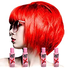 4 X Crazy Color Renbow Semi-Permanent Hair Colour Cream Dye 100ml Box of Four-Fire
