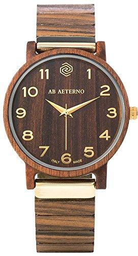 """AB AETERNO """"Fenix Brown 35"""" Nussbaum Holz Swiss Quarz Gold Hypoallergen Damen Uhr"""