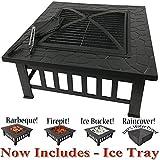 RayGar, quadratisches 3-in-1-Produkt (Feuerstelle, Grill, Eisschale), aus Metall, geeignet als Terrassenstrahler, inklusive Schutzabdeckung (jetzt inkl. Eis-Tablett), FP39
