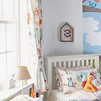 """Riva Paoletti Kids Woodland Pencil Pleat Curtains (Pair) - Green and Cream - Matching Tiebacks - Machine Washable - 168cm width x 183cm drop (66"""" x 72"""" inches) - Designed in the UK"""