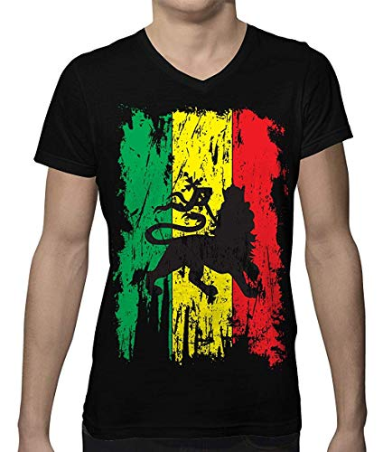 Distressed Rasta Flag Men's V-Neck T-Shirt -
