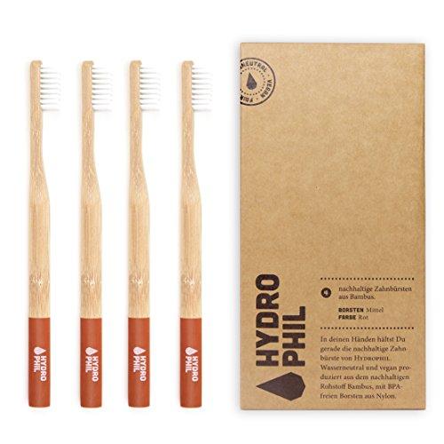 Hydro Phil sostenibile Spazzolino da denti in bambù rosso Confezione da mittelweich Medio Morbido