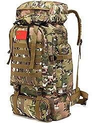 BAGEHUA gran capacidad Mochila bolsa de montañismo senderismo Camuflaje equipaje paño de Oxford 56-75L 6 Colores camuflaje de montaña