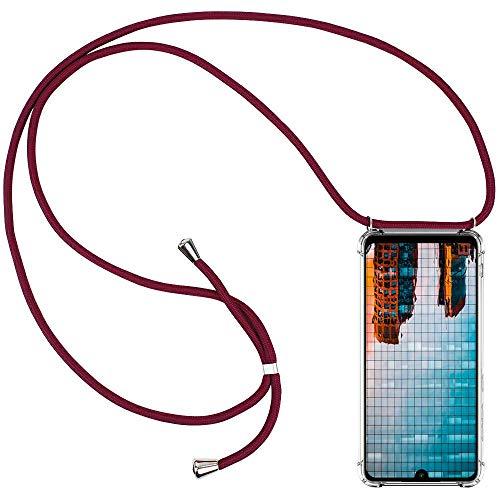 CLM-Tech Carcasa con Cuerda para Colgar Compatible con Xiaomi Redmi Note 7 - Funda Silicona Transparente con Cordon para Llevar en el Cuello, Rojo