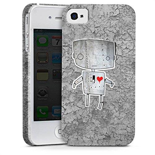 Apple iPhone X Silikon Hülle Case Schutzhülle Roboter Herz Grafik Premium Case glänzend