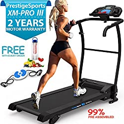 XM-PROIII TREADMILL - NEW 2018 Model Motorised Running Machine, Lightweight Folding , Powerful Motor 1100W, 12KPH Speed, 3 Level Manual Incline, Auto Lube, 12 Auto + 1 Manual Program, Speakers, Pulse