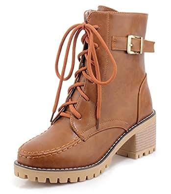 SHOWHOW Damen Martin Boots Kurzschaft Stiefel Mit Absatz Braun 39 EU 7y2Sa