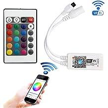 Tesfish Mini inalámbrico Wifi RGB Led controlador de trabajo con Android y IOS sistema 5V-28V para 3528 5050 RGB LED tira de luz