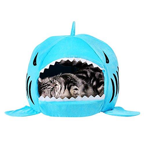 Tping Shark Rund Kitten Katze Hunde Welpe Schlafsofa Hundebett Katzenbett Hundesofa Katzensofa Haustier Indoor Hundehaus mit Abnehmbarem Kissen - Klein, Blau